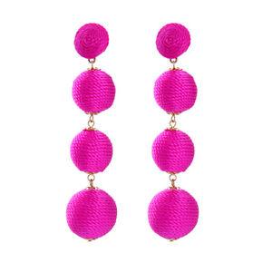 【送料無料】ピアス ボールスタッドピアス ファッションゴールデンピンクウールロングトレーラohrringe mode gestt golden rosa wollknuel 4 kugel lange anhnger original x20