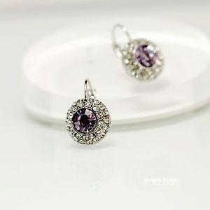 【送料無料】ピアス ピアス パジャマラウンドクリスタルシルバーバイオレットラベンダービンテージohrringe schlfer runde kristall silber violett lavendel vintage cc10