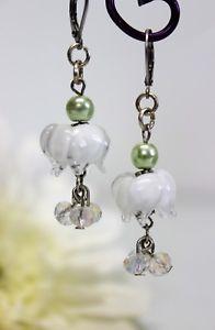 【送料無料】ピアス ステンレススチールピアス ピアス ビーズガラスglass jewels edelstahl ohrringe ohrhnger perlen lampwork blten wei l059