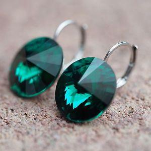 【送料無料】ピアス ピアス スワロフスキーエメラルドグリーンダークグリーンピアス neu ohrhnger 12mm swarovski steine emeraldgrndunkelgrn ohrringe