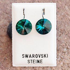 【送料無料】ピアス ピアス スワロフスキーエメラルドグリーンダークグリーンピアス neu ohrhnger 14mm swarovski steine emeraldgrndunkelgrn ohrringe