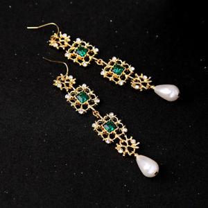 【送料無料】ピアス エメラルドピアス ohrringe golden lang gemeielt spitze grn smaragd perle ehe aa22