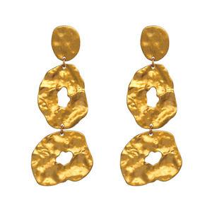 【送料無料】ピアス チェーンピアス ゴールデンohrringe 3 gro kette tortu unregelmige metall gemalt golden lang aa28