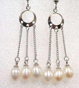 【送料無料】ピアス レディースオリジナルパールロングハンガーフックピアス ホワイトパールdamen original perle lang hnger baumel haken ohrringe 3 weie perle uk