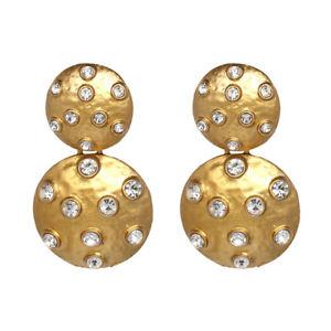【送料無料】ピアス ピアス ディスクゴールデンクリスタルレトロohrringe 2 gro runde scheibe metall gemalt golden gepflastert kristall retro