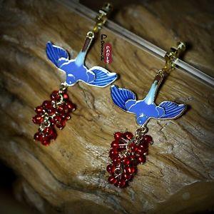 【送料無料】ピアス ピアス クリップエナメルグレープパールレッドオリジナルohrringeohren clips vogel emaille blau traube perle rot original geschenk b3