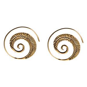 【送料無料】ピアス ゴールドトーンスパイラルブレードシダピアス 81stgeneration messing gold ton spiral blatt farn tribal ohrringe