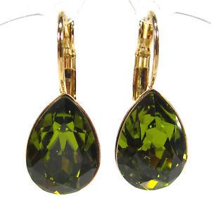 【送料無料】ピアス ピアス ピアス クリスタルドロップグリーンオリーブsoho ohrhnger ohrringe geschliffene kristall tropfen olivine grn olive gold