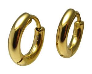 【送料無料】ピアス クラシックピアス ゴールドチタンステンレスフープスリムチューブklassische ohrringe gold titanedelstahl creolen 12mm slim tube herren damen