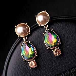【送料無料】ピアス ピアス クリップクリスタルグリーンパールピンクブラウンゴールデンドリップohrringeohren clip auf golden tropf ab kristall grn perle braun rosa c10