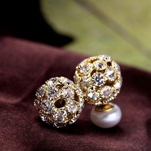 【送料無料】ピアス ピアス ネイルダブルフラットクリスタルゴールデンohrringeohren nagel doppelt zuchtperle wei flach 89mm kristall golden t1