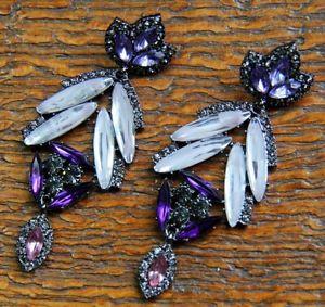 【送料無料】ピアス ピアス キャットウォークショーバイオレットサイズohrringe groe auffllig catwalk show violett blume abend geschenk xx 1