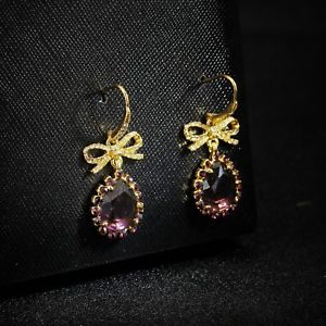 【送料無料】ピアス ゴールデンピアス フックバイオレットクリスタルドリップピアス フライohrringe haken golden fliege violett kristall tropf ohrhnger a7