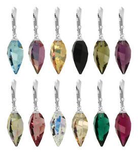 【送料無料】ピアス スワロフスキードロップスターリングシルバーイヤーフックsterling silber ohrhaken gemacht mit 6540 tropfen 20mm swarovski kristallen