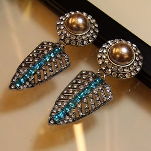【送料無料】ピアス ピアス クリップ×ピアス ohrringeohren clips lang ohrhnger konische blau gro ehe geschenk x2