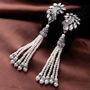 【送料無料】ピアス ピアス シルバークリスタルフリンジビンテージパールクリップohrringe clip silber kristall fringe perle lang vintage ehe j4