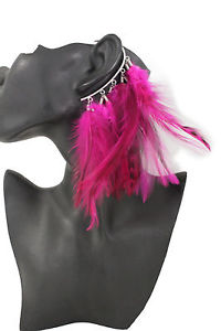 【送料無料】ピアス レディースドロップファッションピアス フックページキジホップピンクdamen lang federn lila tropfen mode eine seite ohrring haken fasan hop pink