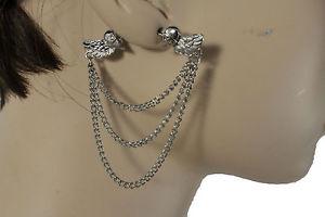 【送料無料】ピアス レディースシルバーメタルチェーンファッションフックピアス ダブルページdamen silber metall ketten mode haken ohrringe set doppelseite engel flgel