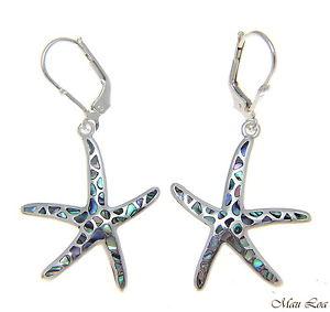 【送料無料】ピアス シルバーハワイヒトデヒトデピアス アワビパウア925 silber hawaii starfish seestern abalone paua brisuren ohrringe