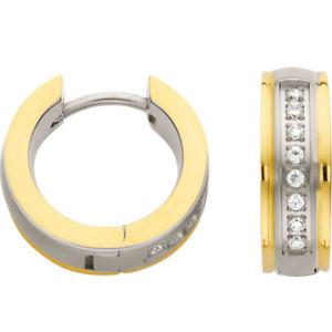 【送料無料】ピアス フープイオンリアルタイムチタンホワイトイエローゴールドオリジナルcem creolen ionenplattiert 5,0 mm breit echt titan klapp weigelb gold original