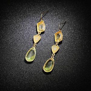 【送料無料】ピアス ピアス ファッションビンテージトレーラーケースohrringe mode golden transparent grn gelb kristall fallen jahrgang anhnger b2