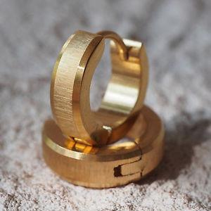 【送料無料】ピアス ステンレススチールフープカラーゴールドピアス フープステンレスneu 13mm edelstahl creolen farbe gold ohrringe edelstahlcreolen gebrstet