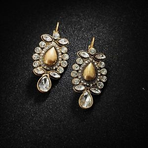 【送料無料】ピアス ピアス ファッションゴールデンクリスタルケースフラワーツリーリーフペンダントヴィンテージohrringe mode golden kristall fallen blume baumblatt anhnger jahrgang b3