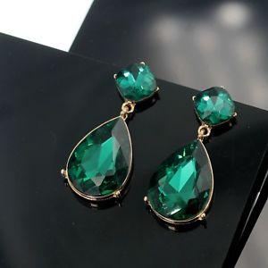 【送料無料】ピアス エメラルドスタッドピアス ファッションクリスタルペンダントケースohrringe mode gestt golden smaragd kristall gro fallen anhnger hochzeit a8