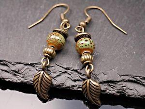 【送料無料】ピアス ピアス ピアス セラミックスシートブロンズohrhnger ohrringe keramik perle blatt bronze