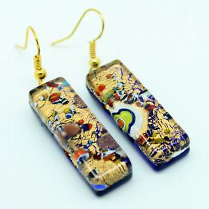 【送料無料】ピアス ゴールドマルチカラームラノベネチアンガラスピアス gold und mehrfarbige handgemacht authentisch murano venezianische glas ohrhnger