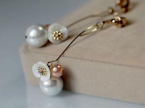 【送料無料】ピアス マザーオブパールピアス パールホワイトピンククリップレトロohrringe clips golden lang blume perlmutt perle wei rosa fein retro a15