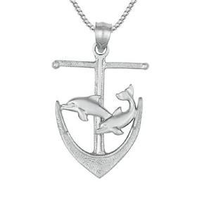 【送料無料】ネックレス スターリングシルバーアンカーイルカアメリカボックスイタリアargent sterling ancre wdauphins pendentif, fait aux usa, 457cm italien bote