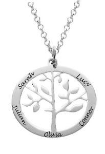 【送料無料】ネックレス カスタムツリークランプホワイトゴールドメッキpersonnalis arbre gnalogique pendentif, collier nom, plaqu or blanc, cadeau,