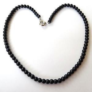 【送料無料】ネックレス アルジェントcollana donna colore argento filo di perle nere 6 mm  47 cm 228 p