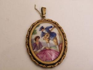 【送料無料】ネックレス セレナーデロマンチックリモージュフランスpendentif bijoux porcelaine peinte romantique srnade,limoges france,nls1025