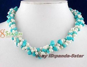 【送料無料】ネックレス クランプターコイズcollier,bleu turquoise, blanc perles de culture naturel,43cm