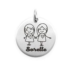 【送料無料】ネックレス pendente moneta personalizzata in acciaio sorelle