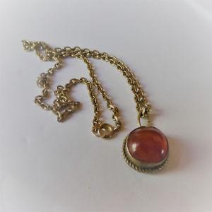 【送料無料】ネックレス シルバーオレンジチェーンpendentif ancien en argent et ambre avec chaine