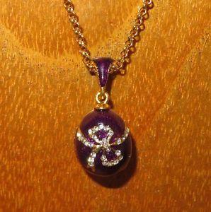 【送料無料】ネックレス ロシアクランプバイオレットスワロフスキーノードoeuf pendentif russe authentique collier email violet amp; swarovski cristaux noeud
