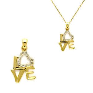 【送料無料】ネックレス ジルコニウムpendentif amour love en plaqu or 750000 et zirconium neuf beaux bijoux neufs