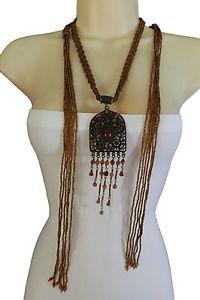 【送料無料】ネックレス ノードビーズビンテージクールcool pour femmes noeud ethnique collier noeud long brun perles vintage rustique