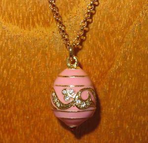 【送料無料】ネックレス エナメルピンクロシアペンダントスワロフスキークランプrose mail oeuf pendentif russe authentique collier swarovski cristaux cadeau