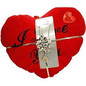 【送料無料】ネックレス ペンダントネックレスクリッククッションセットtoc i d choose you collier pendentif en coeur amp; rouge coussin ensemble cadeau