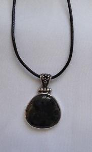 【送料無料】ネックレス クリエイションシックシルバーagnes creations  pendentif original chic agate mousse verte amp; argent 925