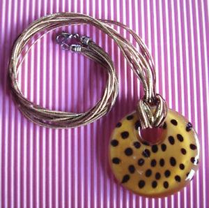 【送料無料】ネックレス ペンダントネックレスガラスwg163  collier pendentif verre facon leopard