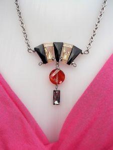 【送料無料】ネックレス クリップアートデコスワロフスキークリスタルアールデコジュエリーcollier art dco cristal swarovski, pendentif art deco bijoux annes 30 ventail
