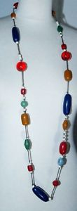 【送料無料】ネックレス ネックレスビーズcollier sautoir ancien perles en rsine colore