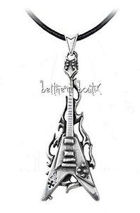 【送料無料】ネックレス ゴスロックコードクランプペンダントギターゴシックgoth alchemy collier cordon amp; pendentif guitare flamme flaming v gothique