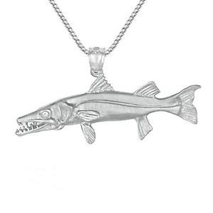 【送料無料】ネックレス スターリングシルバーカマスソリッドアメリカ66g argent sterling barracuda pche 3d solide pendentif,fait aux usa,457cm