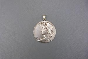 【送料無料】ネックレス ravissant pendentif art nouveau en mtal argent, dbut xx me, 4,5 cm